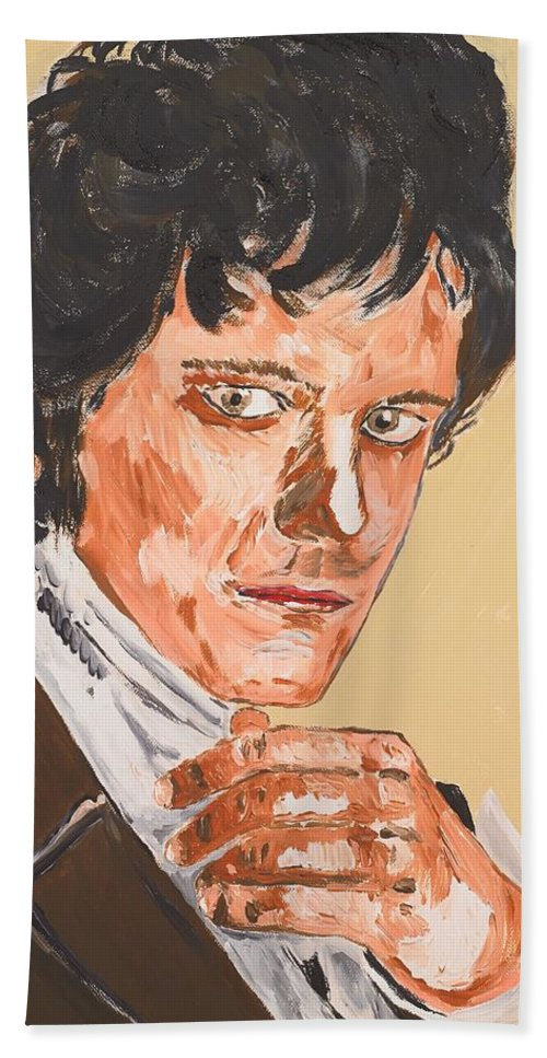 Darcy Hand Towel featuring the painting Mr. Darcy by Valerie Ornstein