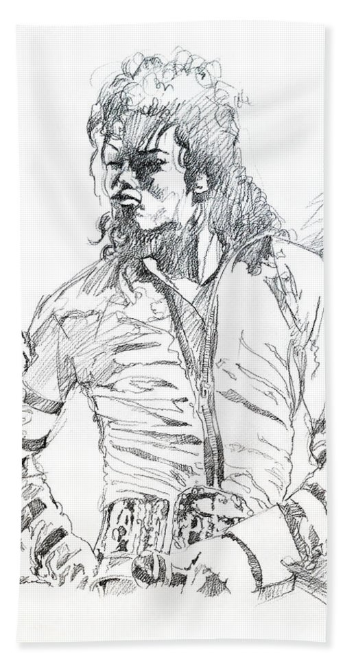 Michael Jackson Bath Towel featuring the drawing Mr. Jackson by David Lloyd Glover