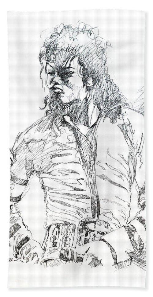 Michael Jackson Bath Sheet featuring the drawing Mr. Jackson by David Lloyd Glover