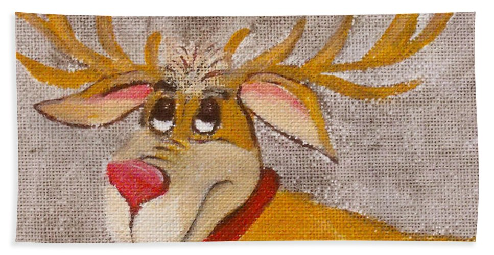 Animals Hand Towel featuring the painting Mr Reindeer by Ruth Palmer