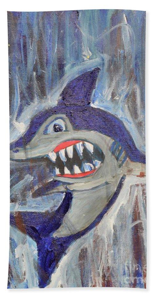 Shark Bath Sheet featuring the painting Mr. Shark by Aj Watson