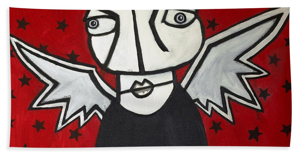 Clay Bath Towel featuring the painting Mr.creepy by Thomas Valentine