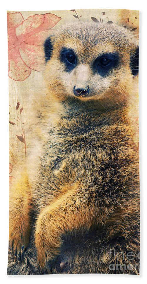 Meerkats Bath Sheet featuring the photograph Mrs Suricate by Angela Doelling AD DESIGN Photo and PhotoArt
