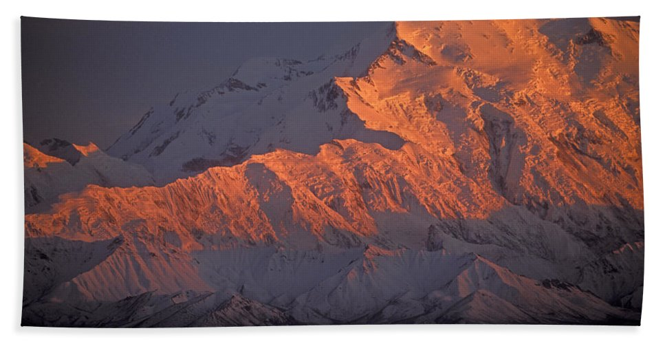 Denali National Park Hand Towel featuring the photograph Mt. Mckinley Sunset by Sandra Bronstein