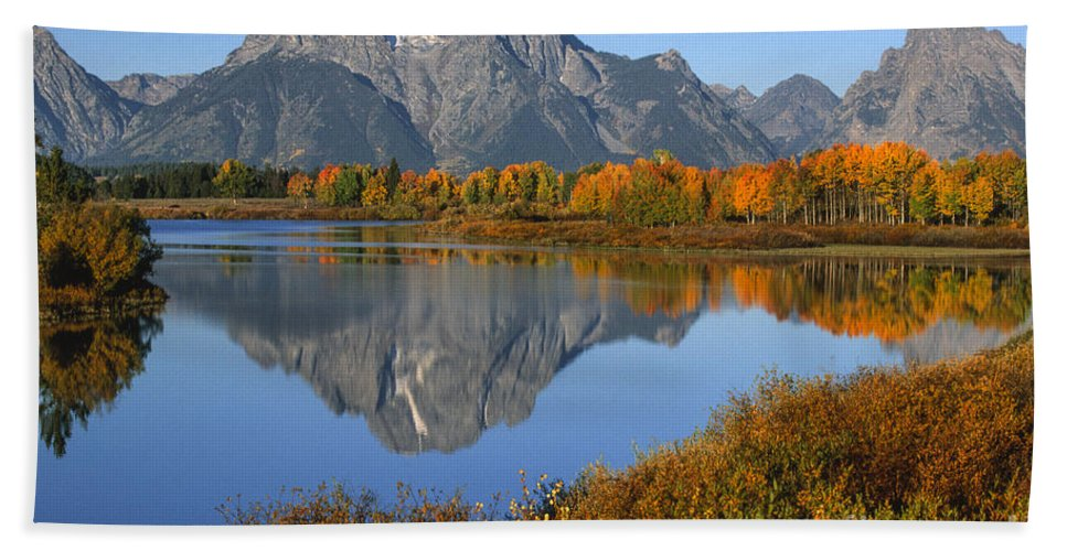 Grand Teton Hand Towel featuring the photograph Mt. Moran Fall Reflection by Sandra Bronstein