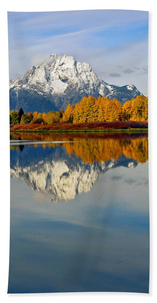 Mt Moran Hand Towel featuring the photograph Mt Moran From The Ox Bow by Gary Langley