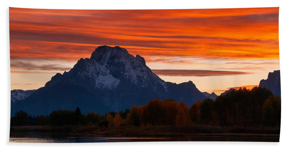 Grand Teton Bath Sheet featuring the photograph Mt. Moran Sunset by Steve Stuller