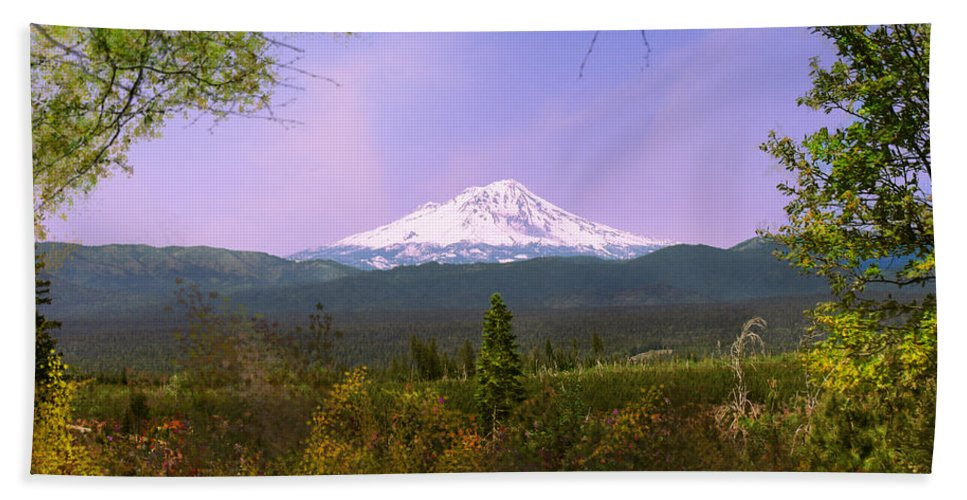 Landscapes Bath Towel featuring the photograph Mt. Shasta by Karen W Meyer