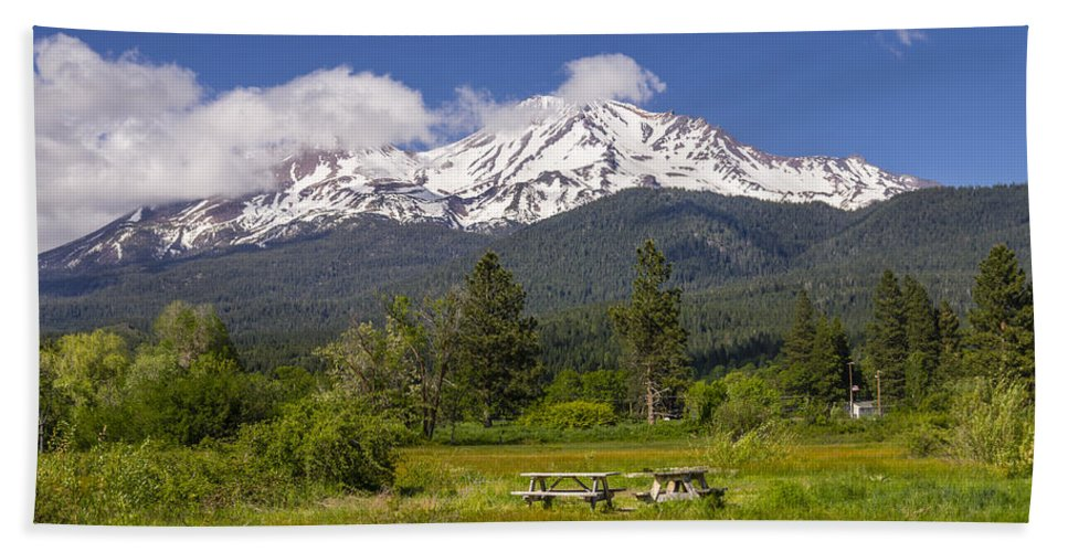 Agriculture Hand Towel featuring the photograph Mt Shasta With Picnic Tables by John Trax