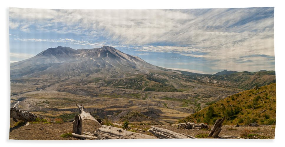 Mt St Helens Volcano After 1980 Eruption Mount Saint Helen National Monument Park Bath Sheet featuring the photograph Mt St Helens by Brian Harig