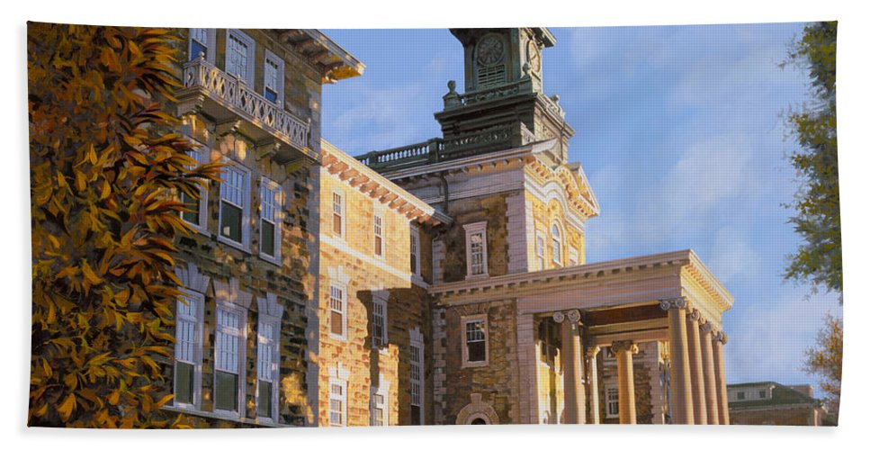 New Jersey Bath Towel featuring the painting Mt St.mary Academy by Guido Borelli