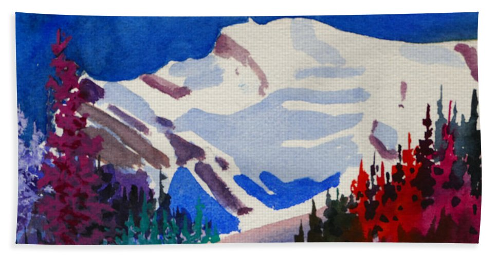 Mt. Wilson Bath Sheet featuring the painting Mt. Wilson by Mohamed Hirji