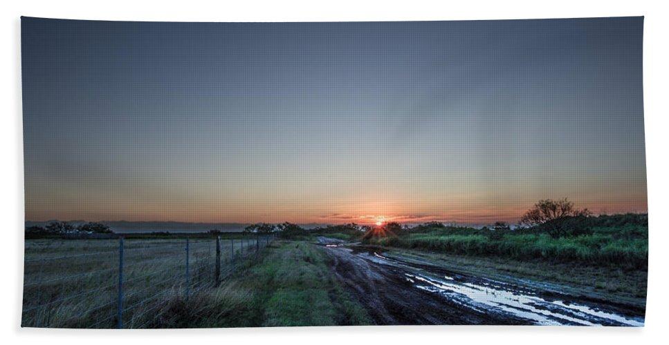 Port Isabel Bath Sheet featuring the photograph Muddy Road Sunrise II by JG Thompson