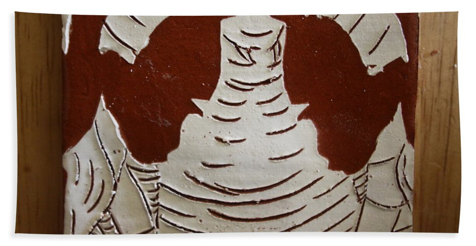 Jesus Bath Sheet featuring the ceramic art Mukama Atulabba - God Sees Us - Tile by Gloria Ssali