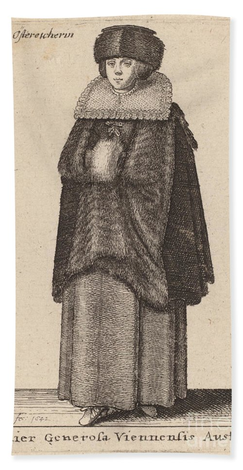 Hand Towel featuring the drawing Mulier Generosa Viennensis Austri by Wenceslaus Hollar