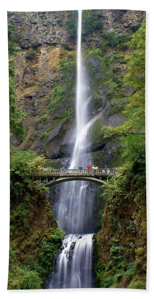 Waterfalls Bath Towel featuring the photograph Multanomah Falls by Marty Koch