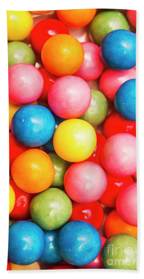 Lolly Bath Towel featuring the photograph Multi Colored Gumballs. Sweets Background by Jorgo Photography - Wall Art Gallery