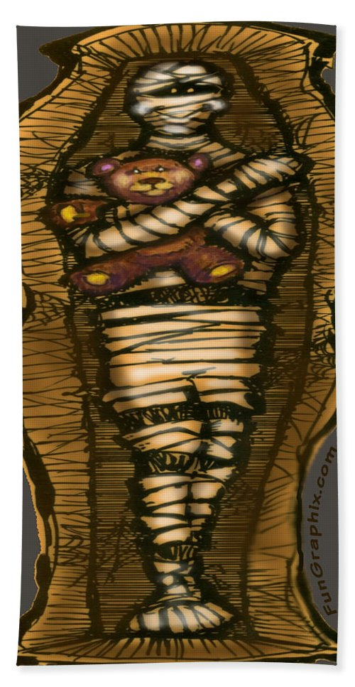 Halloween Bath Sheet featuring the greeting card Mummy And Teddy by Kevin Middleton