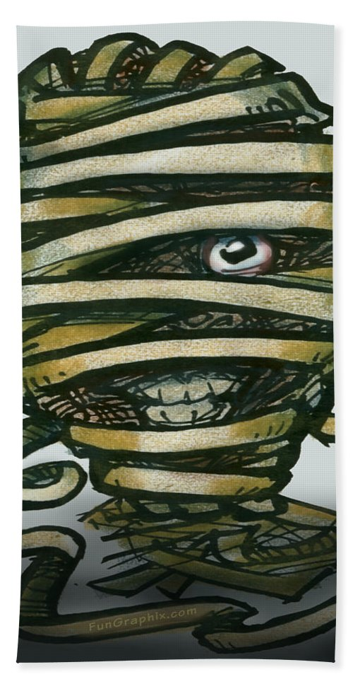 Mummy Hand Towel featuring the greeting card Mummy by Kevin Middleton