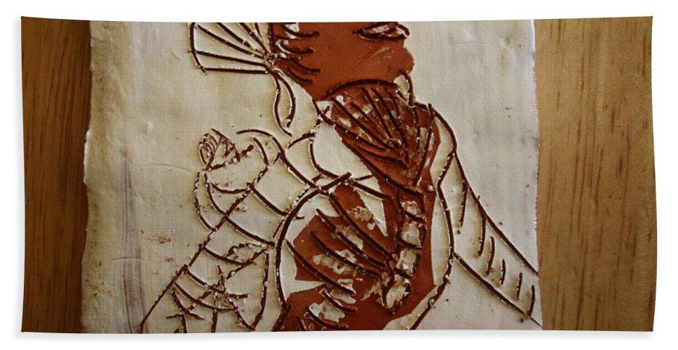 Jesus Bath Sheet featuring the ceramic art Mums Adrift - Tile by Gloria Ssali