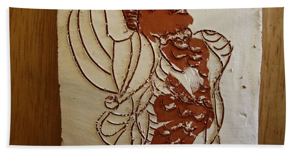 Jesus Bath Towel featuring the ceramic art Mums Ahead - Tile by Gloria Ssali