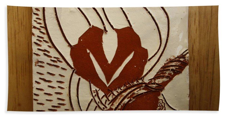 Jesus Bath Sheet featuring the ceramic art Mums Around - Tile by Gloria Ssali