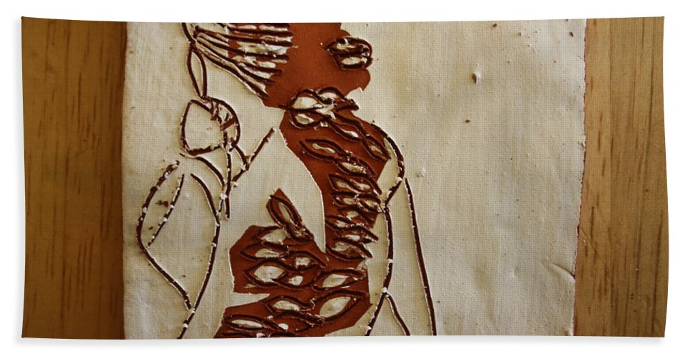 Jesus Bath Sheet featuring the ceramic art Mums Home - Tile by Gloria Ssali