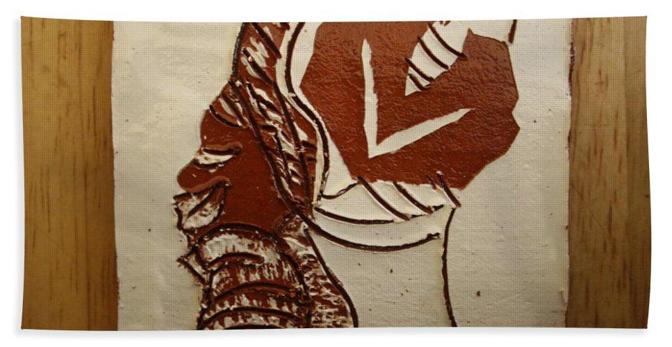 Jesus Bath Sheet featuring the ceramic art Mums Little Wonder - Tile by Gloria Ssali