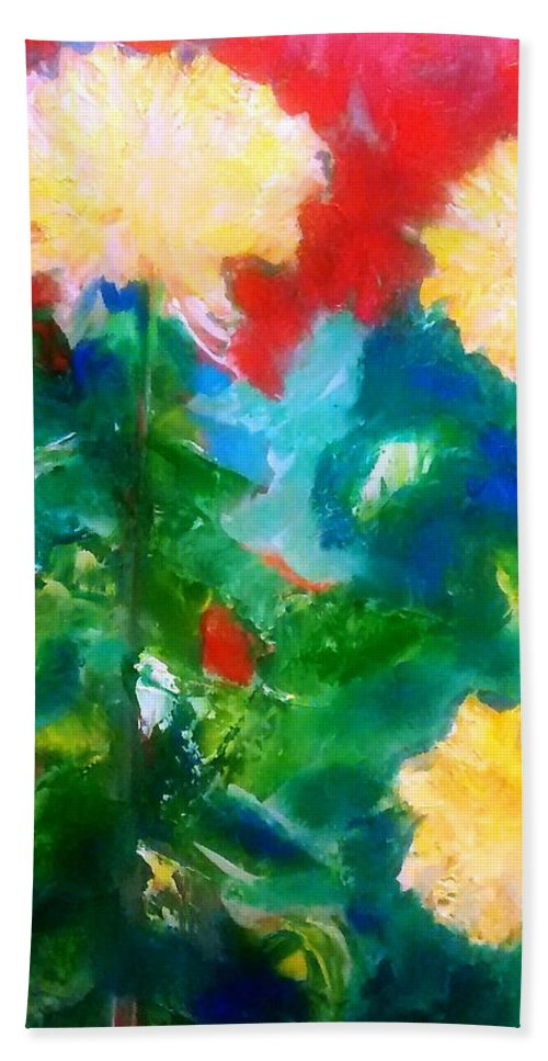 Yellow Mums Hand Towel featuring the painting Mums On Red by Patricia Taylor