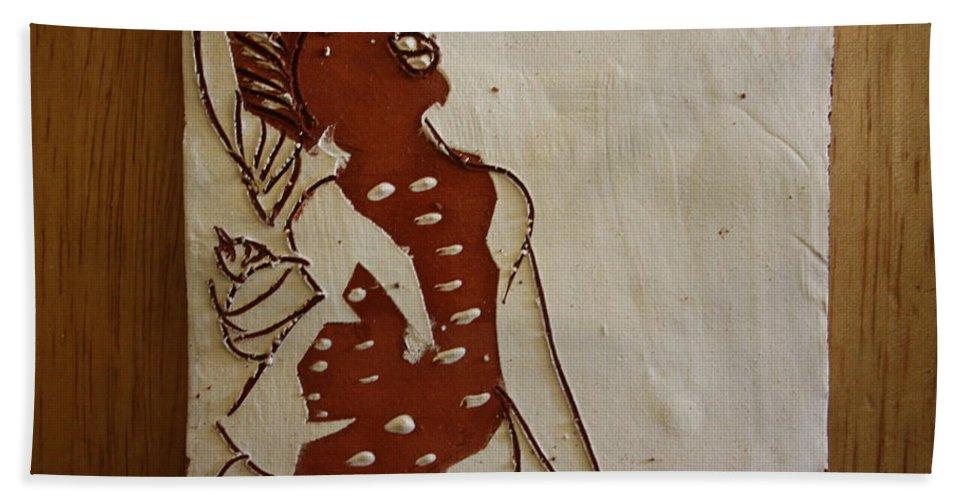 Jesus Bath Sheet featuring the ceramic art Mums Parcel - Tile by Gloria Ssali