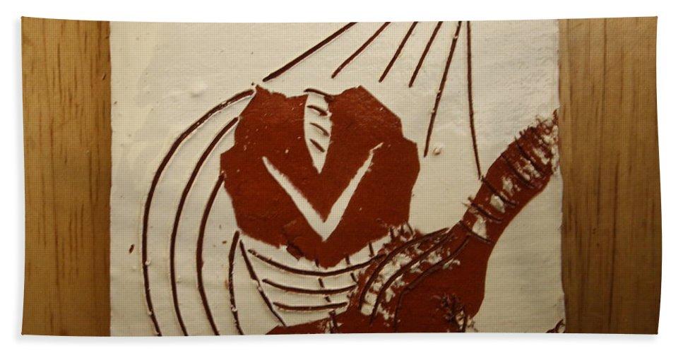 Jesus Bath Sheet featuring the ceramic art Mums Sweetheart - Tile by Gloria Ssali