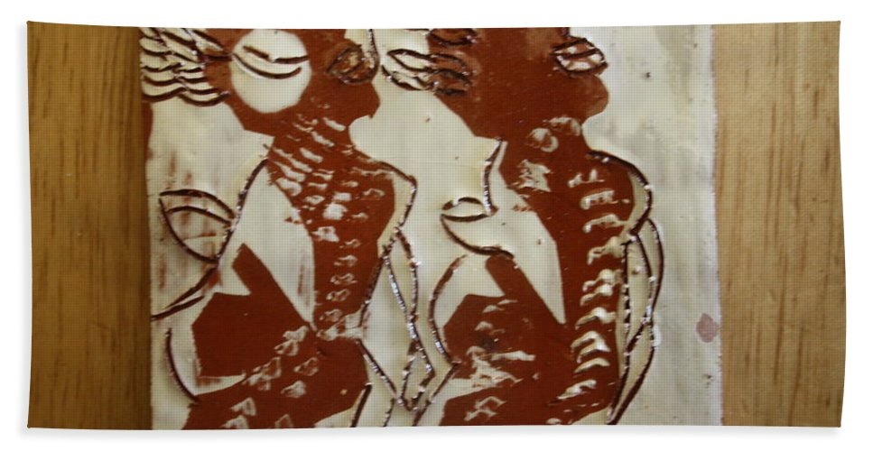 Jesus Bath Sheet featuring the ceramic art Mums Union - Tile by Gloria Ssali