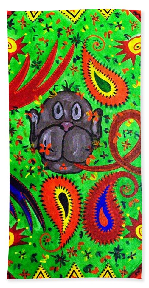 Fantasy Folk Art Bath Sheet featuring the painting Mun Moji-hookah Monkey by Fareeha Khawaja
