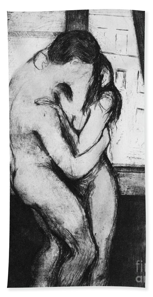 1895 Hand Towel featuring the photograph The Kiss, 1895 by Edvard Munch