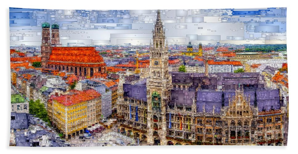 Rafael Salazar Hand Towel featuring the digital art Munich Cityscape by Rafael Salazar