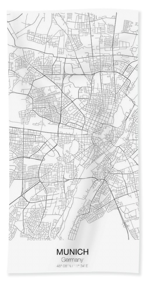 Munich Minimalist Map Hand Towel for Sale by Lori Hinner
