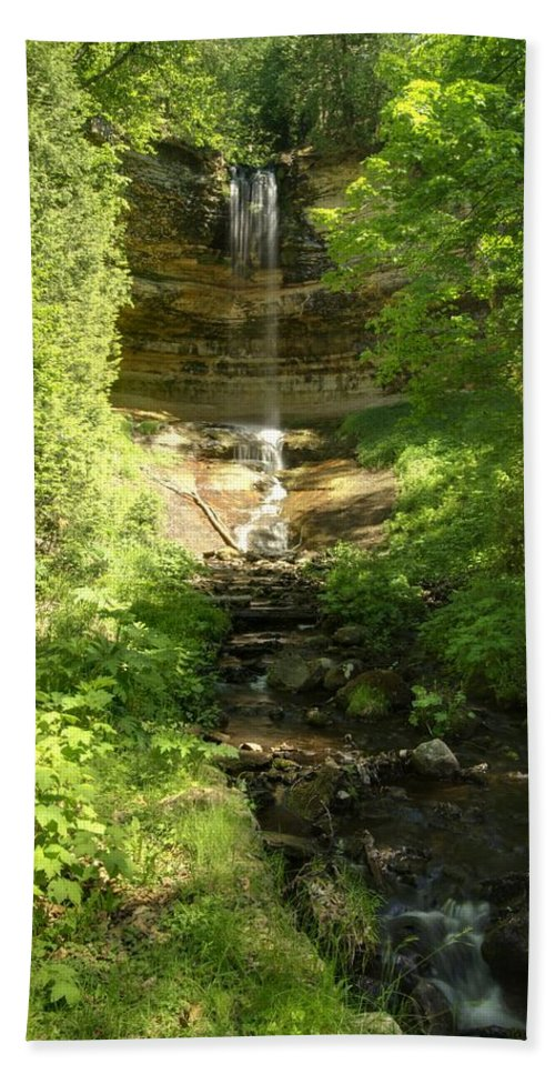 Landscape Hand Towel featuring the photograph Munising Falls by Michael Peychich