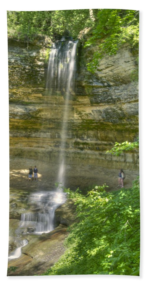 Landscape Hand Towel featuring the photograph Munising Waterfall by Michael Peychich