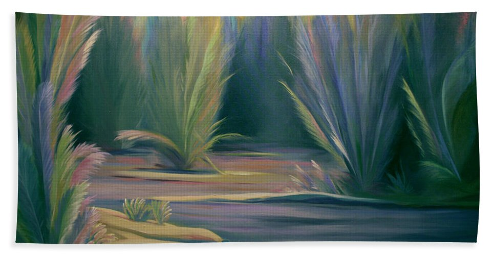 Feathers Bath Sheet featuring the painting Mural Field Of Feathers by Nancy Griswold