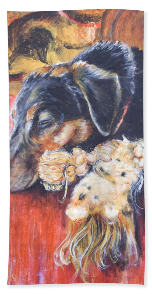 Dog Bath Towel featuring the painting Murphy VIII by Nik Helbig