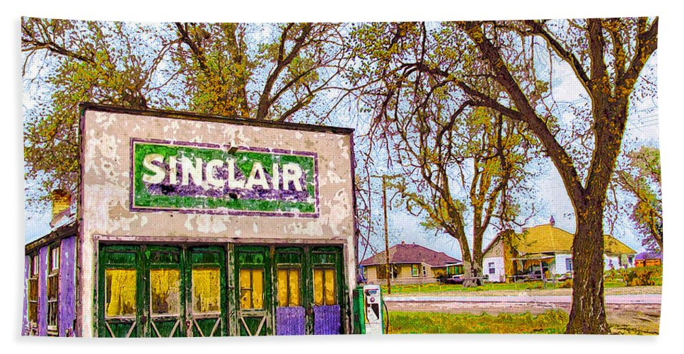 Sinclar Gasoline Hand Towel featuring the mixed media Murphy's Garage by Dominic Piperata