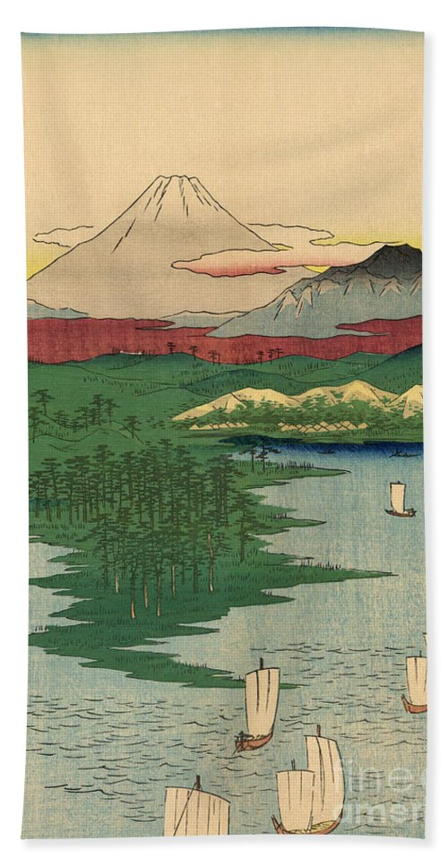 Musashi Hand Towel featuring the painting Musashi Noge Yokohama - Noge Yokohama In Musashi Province by Utagawa Hiroshige