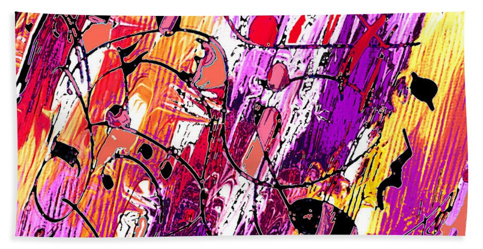 Abstract Bath Sheet featuring the digital art Muse Fragments by Rachel Christine Nowicki