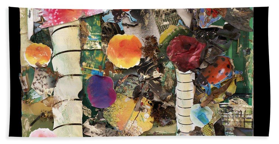 Abstract Bath Sheet featuring the mixed media Mushroom by Jaime Becker