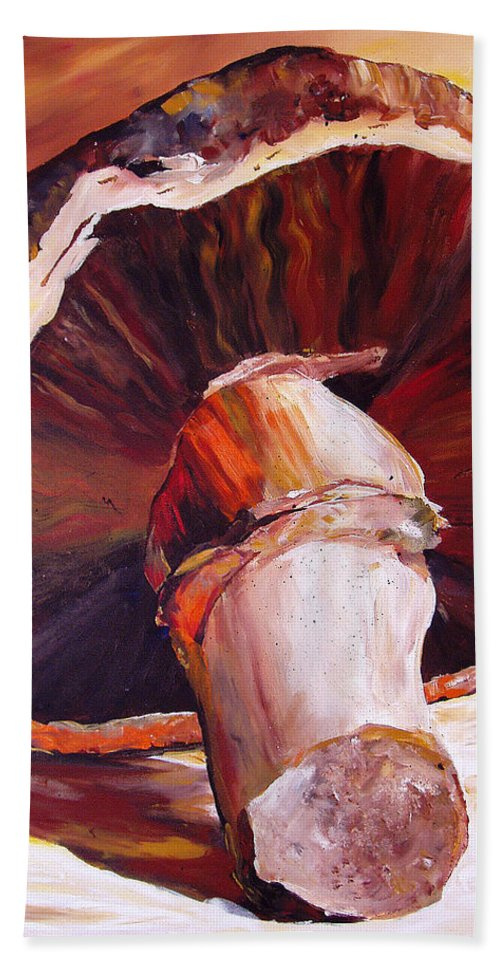 Mushroom Bath Sheet featuring the painting Mushroom Still Life by Toni Grote