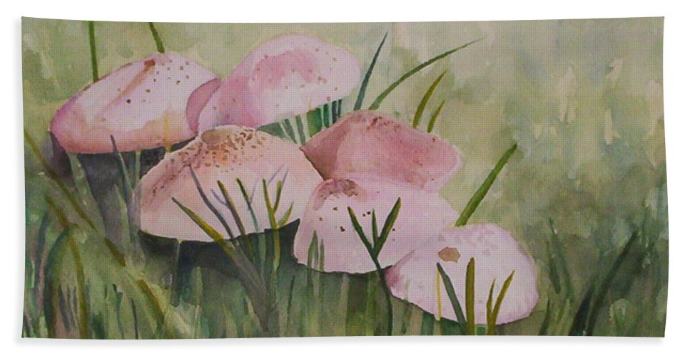 Landscape Hand Towel featuring the painting Mushrooms by Suzanne Udell Levinger