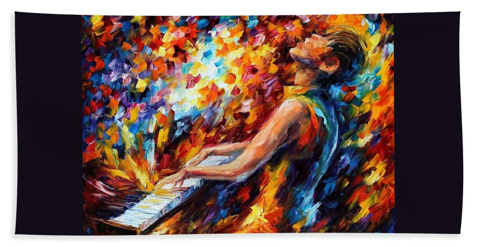 Afremov Hand Towel featuring the painting Music Fight by Leonid Afremov