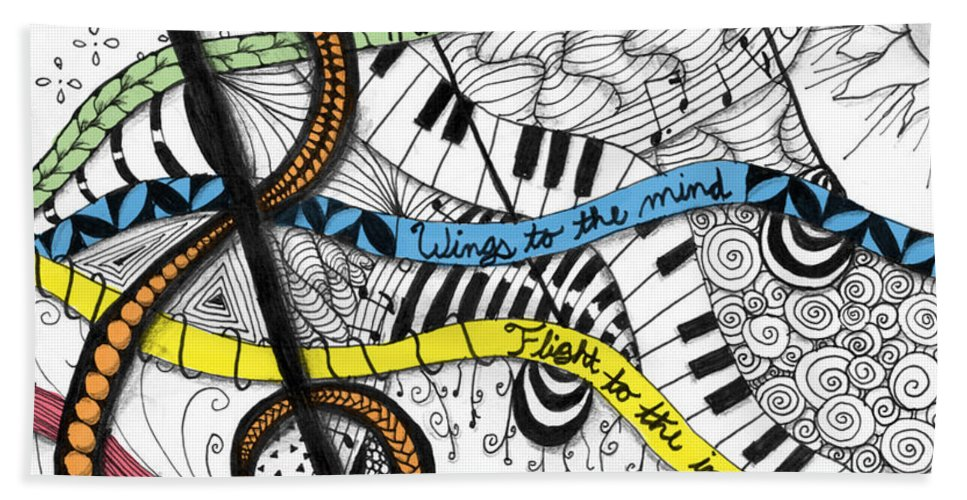 Music Hand Towel featuring the digital art Music Gives Life by Emily Smith