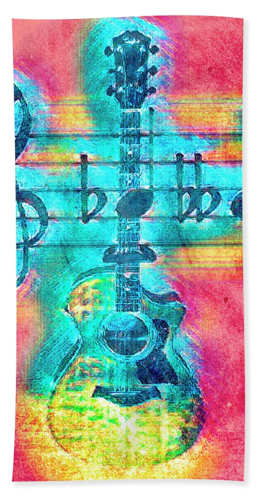 Folk Hand Towel featuring the photograph Music Is Everything In Colors by Debra and Dave Vanderlaan