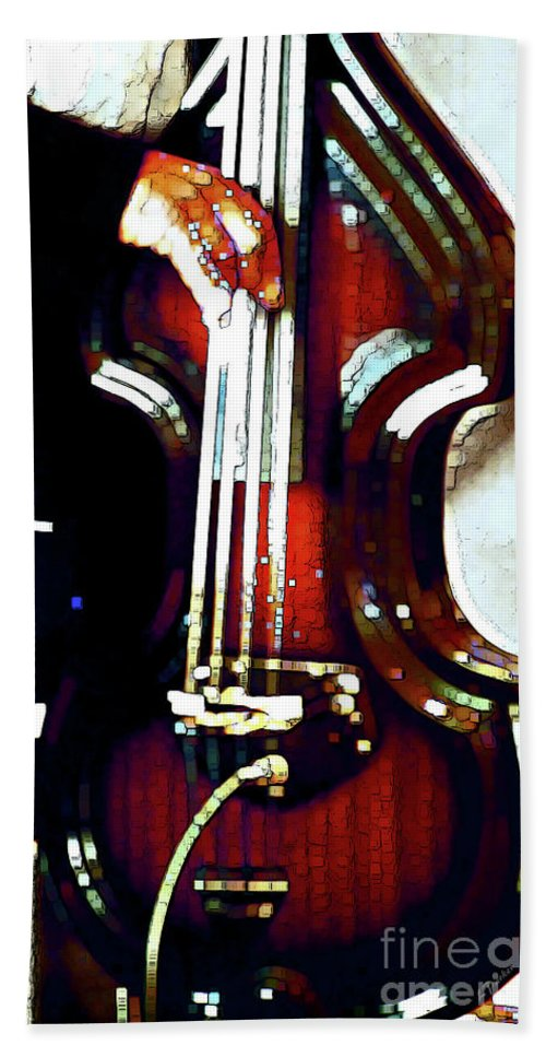 Abstract Bath Sheet featuring the photograph Music Man Bass Violin by Linda Parker